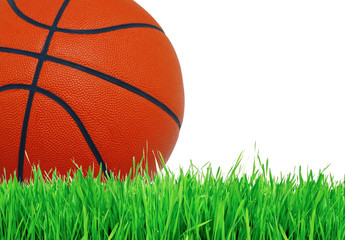 Basketball ball on green grass over white, close up