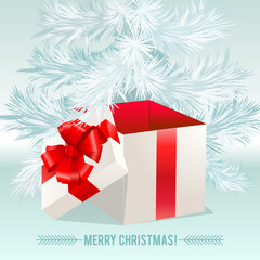 Gift white box with a red bow on white background Christmas tree