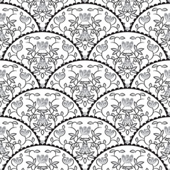 Stylized fish scale japan wave seamless pattern. Flower branches swirls in grayscale colors. Fan or peacock tail ornament.