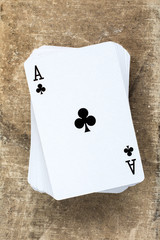 Card deck with  ace on the top