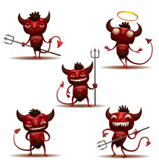 Vector Little Red Devils set. Cartoon image of five red little devils in different poses on a light background.