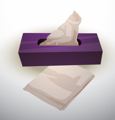Vector Napkin Box. Cartoon image of a purple napkin box with white paper napkins on a light background.