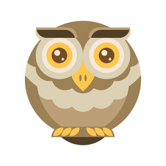 Brown owl. Flat vector.
