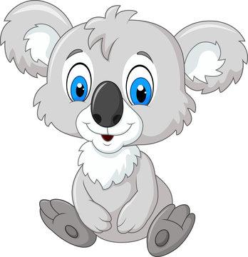 Cartoon adorable koala sitting isolated on white background