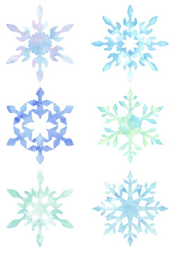 Set of snowflakes isolated on white background. Hand painted watercolor Xmas clip arts.