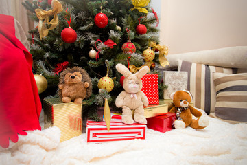 Christmas Tree with Gifts and toys, Xmas concept