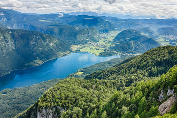 Beautiful Lake Bohinj surrounded by mountains of Triglav national park. view from Vogel cable car...
