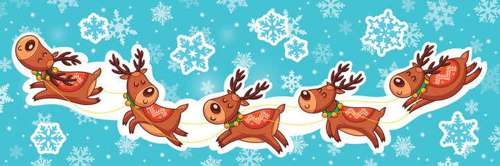 Christmas sticker set. Reindeer Santa