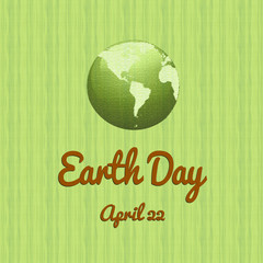 Earth day save the planet illustration april 22 with yellow background and leaves