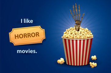 Vector Horror movies. Cartoon image of a red and white bucket of popcorn with light brown skeleton hand to gets out of it, symbolizing a horror movies, on a bright blue background.