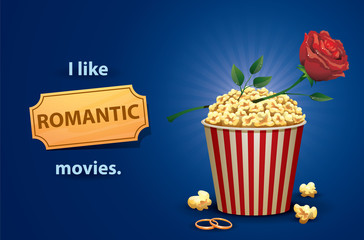 Vector Romantic movies. Cartoon image of a red and white popcorn bucket with a red rose on a green stem on top and two gold rings next to, symbolizing a romantic movies, on a bright blue background.