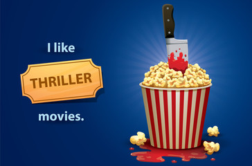 Vector cartoon image of a red and white bucket of popcorn with a knife stained in blood to thrust to it and puddle of  blood under it symbolizing the thriller movies on a bright blue background.