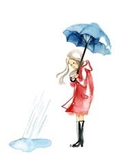 赤いコートの女性と雨