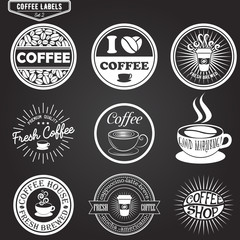 Set of coffee labels, design elements, emblems and badges. Isolated vector illustration in vintage style