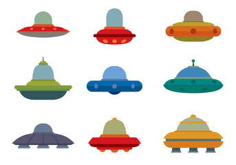 Vector Flat UFO Spaceships set. Flat image of nine spaceships of different colors and sizes on a white background.