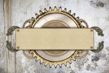 Metal frame and clockwork details