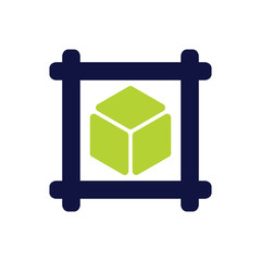 Cube With Square Frame Logo Template