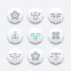 Drones, quadrocopter, drone with camera, uav line octagon icons, vector illustration