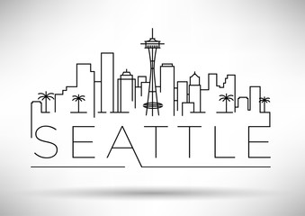 Linear Seattle City Silhouette with Typographic Design Wall mural