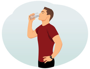 Attractive young man is drinking water from a glass. Fitness and health.