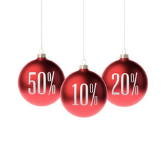 Red 3d christmas Baubles with discount label. Vector illustration