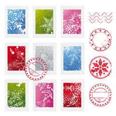 Christmas postage stamps with snowflakes and texture
