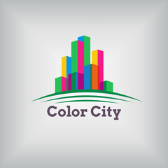 Vector abstract colorful city, building composition sign, icon, logo isolated. Modern flat style.
