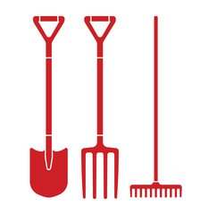 Spade, pitchfork and rake vector illustration
