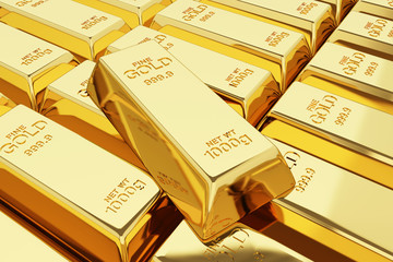 3d stack of gold bars.