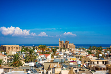 Deurstickers Cyprus Old town of Famagusta (Gazimagusa), Cyprus. High elivated view