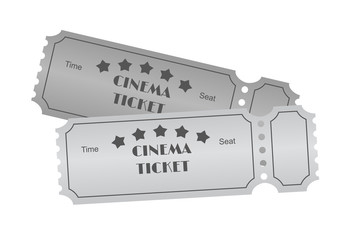 Cinema ticket on white