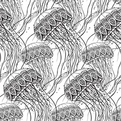 Vector seamless pattern with Hand drawn jellyfish