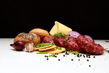 Ingredients for cheeseburgers
