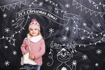 Girl wishes all a Merry Christmas