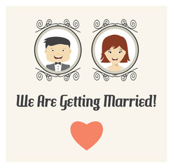 We are getting married vector card