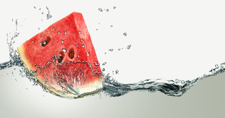 Sweet watermelon and water splash.