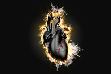 Flaming human heart. 3d illustration. Contains clipping path