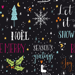 Hand drawn seamless pattern with Christmas design elements