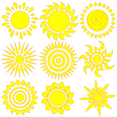 Vector set of different hand drawn suns. isolated.