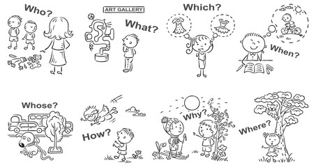 Question words in cartoon pictures, visual aid, black and white outline