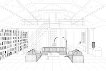 Living room as CAD drawing