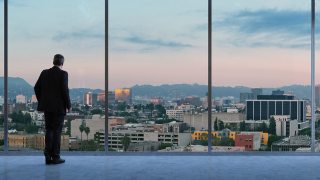 Business Manager looking at Los Angeles from office