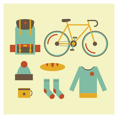 Icon set in flat style of trip outdoor objects, bag, bike, hat, socks, sweater, bread, cup. Tourism and holiday journey equipment.