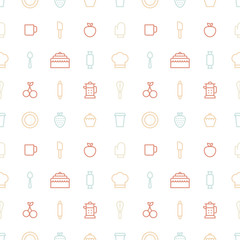 Seamless bakery icons. Kitchen tools background. Cake, cherry, cup, spoon, strawberry pattern on white background