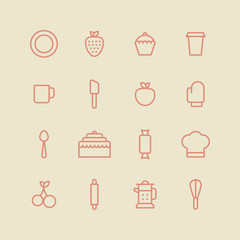 Bakery icon set. Kitchen tools background. Cake, cherry, cup, spoon, strawberry, plate, apple, cupcake on white background