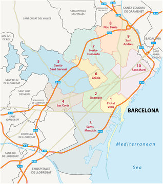 barcelona road and administrative map