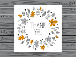 Botanical card with thank you message. Hand drawn botanical fram