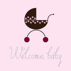 Welcome baby greeting card with pram