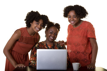 A mother and her 3 children working on a computer isolated on white