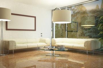 Soggiorno con pavimento in marmo